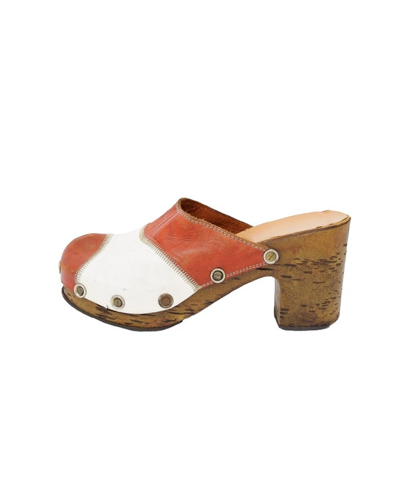 Red and White Clogs - Size 7.5 / mules / 70s / boh