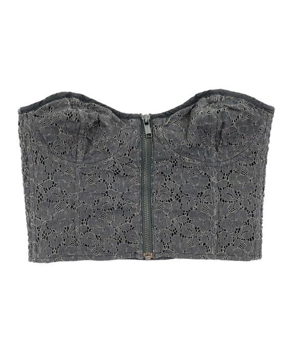 Floral Lace Corset - Size 2 - Black Gray Corset -… - image 1