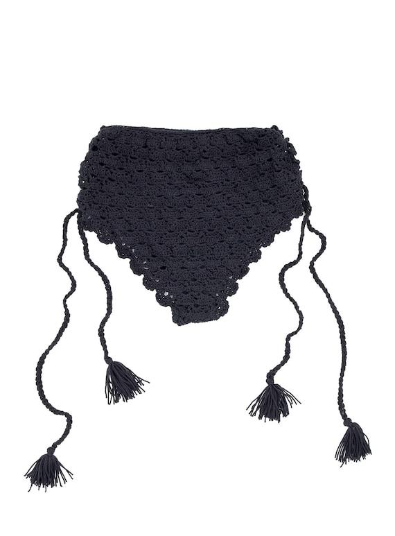 Black Crochet High Waisted Bottoms - Size Small -