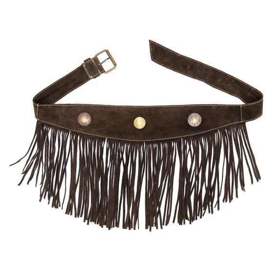 Brown Suede Fringe Belts - Vintage Brown Belts - V