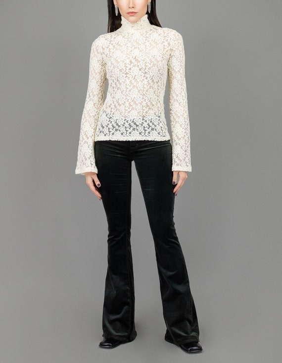 Lace Turtleneck - Size Small - Vintage Tops - Vint