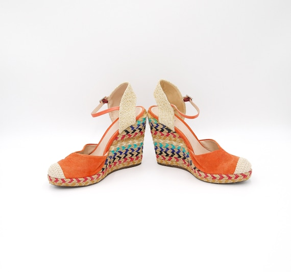 Colorful Summer Suede Wedge - Size 38 EU - Vintage