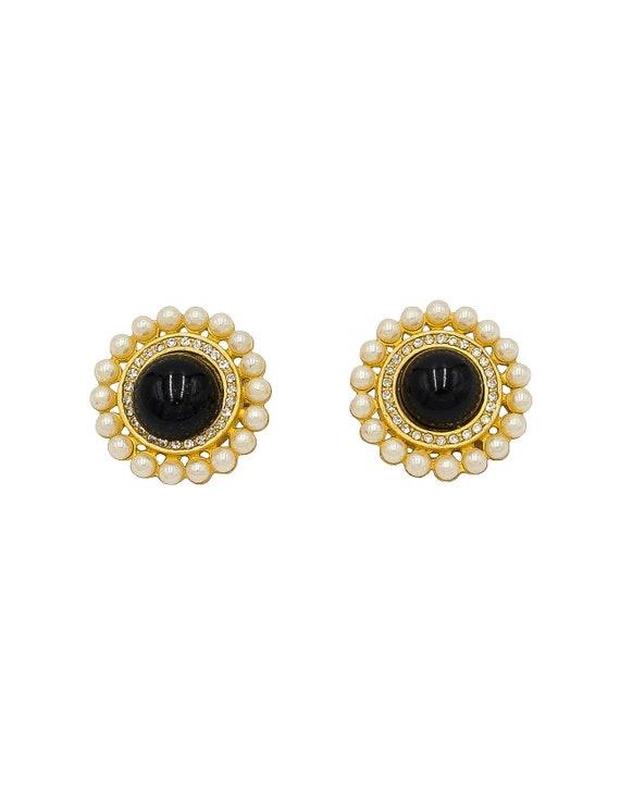 Gold Round Pearl Earrings - Vintage Earrings - Vin