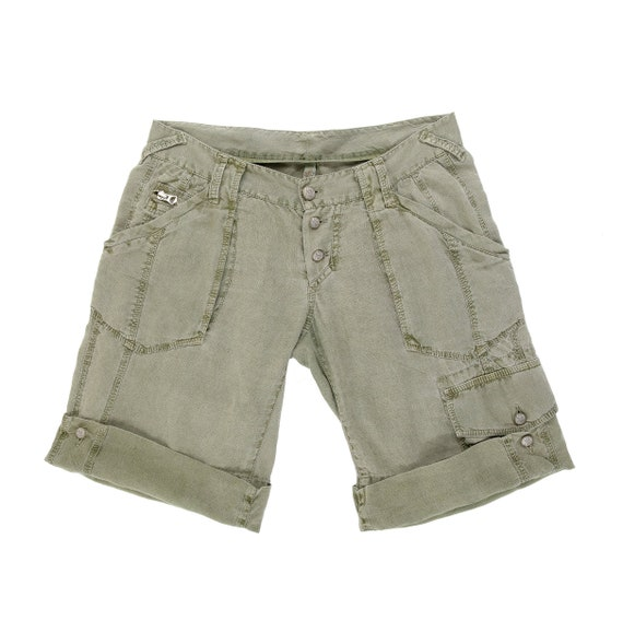 Military Green Cargo Shorts - Linen Shorts - Size