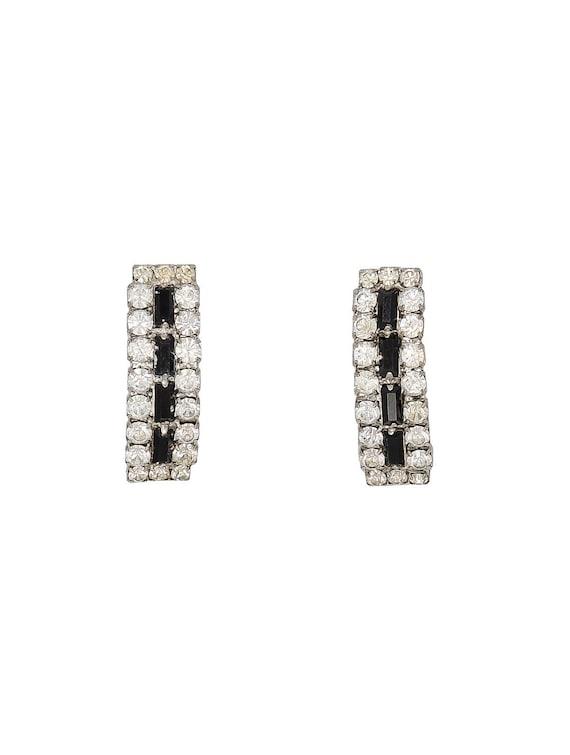 Crystal Line Earrings - Vintage Crystal Earrings -