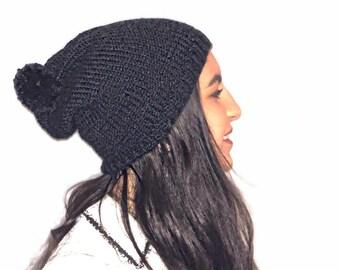 Bonnet en laine tricoté main Simple tombant avec pompon, couleur au choix,  accessoire au choix 381e103aa39