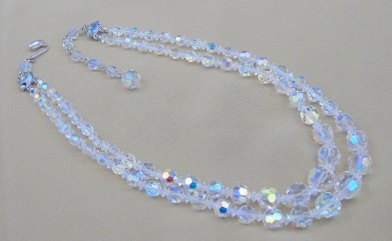 Clear 2-Strand Faceted Crystal Bead Necklace Mid-Century Vintage COLLECTIBLE JEWELRY