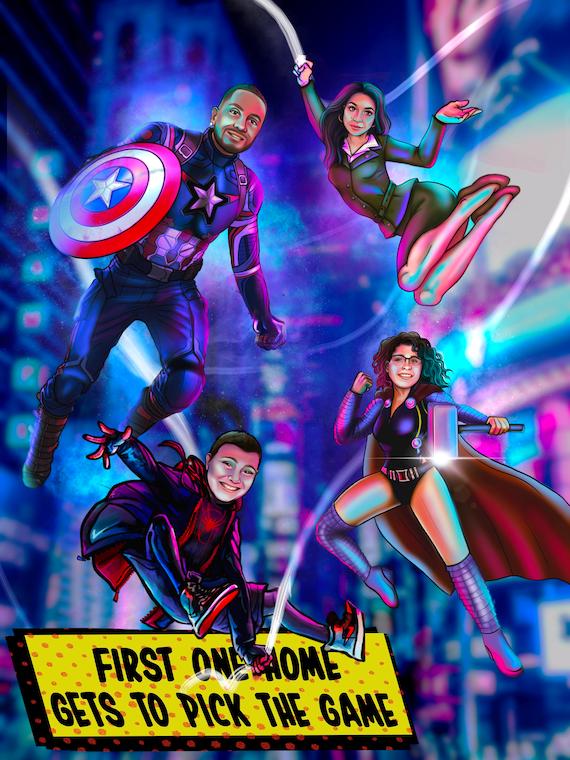 custom family portrait from photo superhero portrait cartoon couple portrait marvel spiderman into the spiderverse miles morales spider gwen
