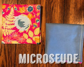 Micro suede EDC Hahnk, EDC Gear, Pink and Blue Floral Handkerchief, Every Day Carry Hank, Reusable, Washable and Eco friendly