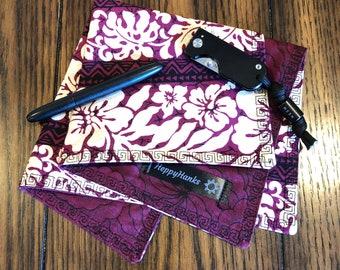 EDC Gear Handkerchief, Maroon Hank, Hawaiian Print Hankerchief, Every Day Carry Handkerchief, 100% cotton