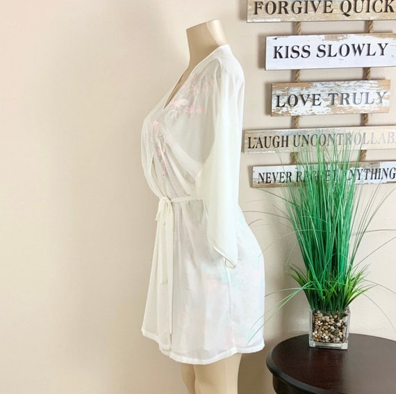 Lucie Ann   Vintage Floral Robe And Nightgown Sz M - image 2