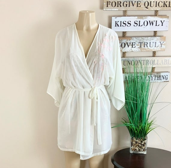 Lucie Ann   Vintage Floral Robe And Nightgown Sz M - image 4