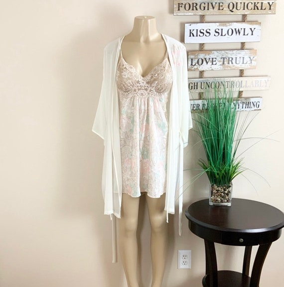 Lucie Ann   Vintage Floral Robe And Nightgown Sz M - image 9