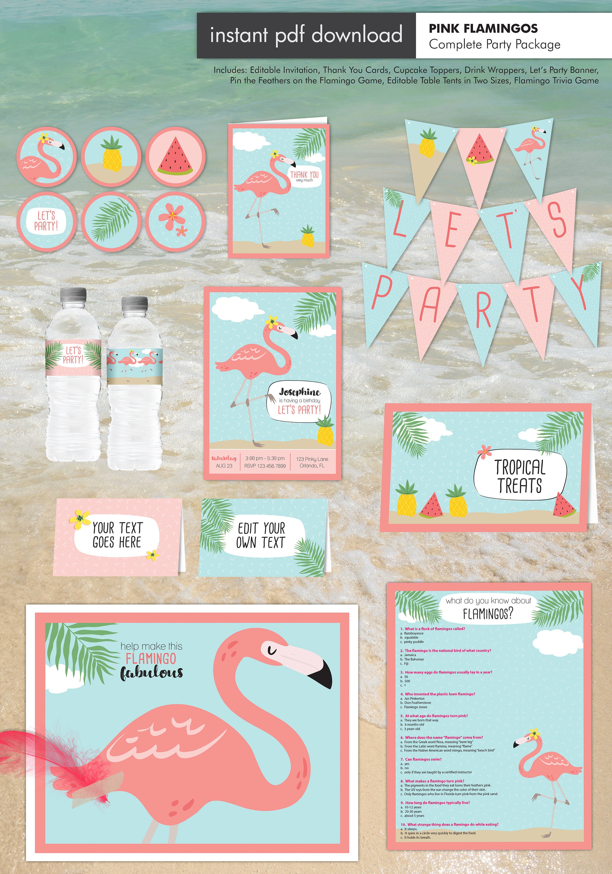 Pink Flamingo Tropical Theme Party Invitations with Decorations - 9 Piece  Printable Party Package - Instant Download with Editable Text