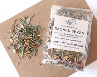 Sacred Seven Loose Incense Blend 1 oz. ~ Aromatherapy Herbs & Resins ~ Unique Blend ~ Purify ~ Cleanse ~ Organic ~ Eco Friendly Packaging