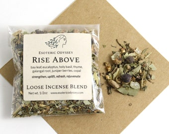 Rise Above Loose Incense Blend 1/2oz ~ Aromatherapy Herbs & Resins ~ Unique Blend ~ Strength ~ Uplift ~ Organic ~ Eco Friendly Packaging