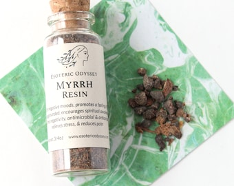 Myrrh Resin ~ 3/4oz glass bottle w/cork ~ Aromatherapy Herbs & Resins ~ Incense ~ Granulated ~ Healing ~ Grounding ~ Relieve Stress
