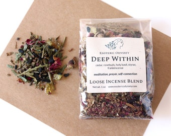 Deep Within Loose Incense Blend 1oz ~ Aromatherapy Herbs & Resins ~ Unique Blend ~ Meditation ~ Prayer ~ Organic ~ Eco-friendly packaging
