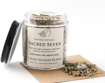 Sacred Seven Loose Incense Blend ~ 1 oz. Glass Jar ~ Aromatherapy Herbs & Resins ~ Unique Blend ~ Purify ~ Cleanse ~ Organic Herbs