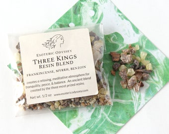 Three Kings Resin Blend ~ 1/2oz Biodegradable Package ~ Aromatherapy Herbs & Resins ~ Incense ~ Granulated ~ Ancient Blend ~ Meditation