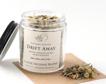 Drift Away Loose Incense Blend ~ 1oz Glass Jar ~ Aromatherapy Herbs & Resins ~ Unique Blend ~ Relaxation ~ Sleep ~ Organic Herbs