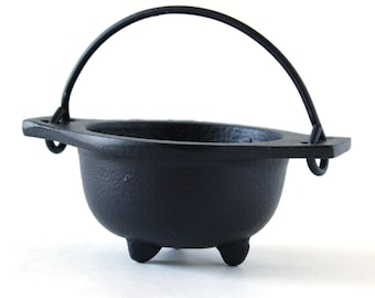 Cast Iron Cauldron with Handle - Plain Design ~ Free Incense/Resin Sample ~ Burn Incense and Resins ~ Charcoal ~ Smudge Pot ~ Heavy