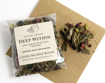 Deep Within Loose Incense Blend 1/2oz ~ Aromatherapy Herbs & Resins ~ Unique Blend ~ Meditation ~ Prayer ~ Organic ~ Eco-friendly packaging