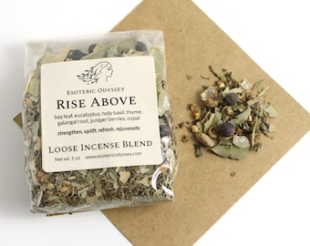 Rise Above Loose Incense Blend 1oz ~ Aromatherapy Herbs & Resins ~ Unique Blend ~ Strength ~ Uplift ~ Organic ~ Eco Friendly Packaging