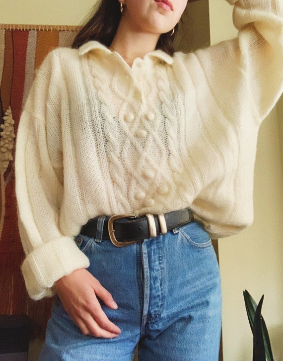 80s French Mohair Oversized Cream Pullover Knit Sw
