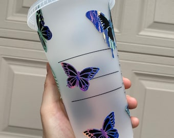 Reverse Holographic Butterfly Starbucks Cup  Personalized Name Venti Cold Drink Cup  Reusable Starbucks Cup