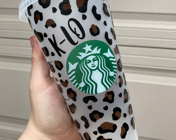 Reusable Starbucks Cup  Cheerah Print Starbucks Cup  Personalized Name Venti Cold Drink Cup