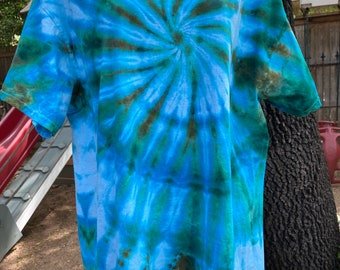 Tie Dye Shirt  Blue Tye Dye Top  Upcycled  Trending