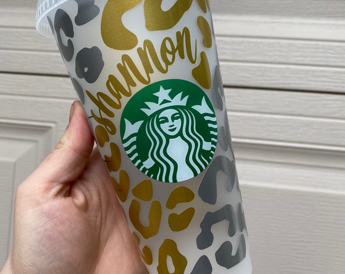 Reusable Starbucks Cup  Leopard Print Starbucks Cup  Custom Cheetah Print Tumbler  Personalized Name Venti Cold Drink Cup