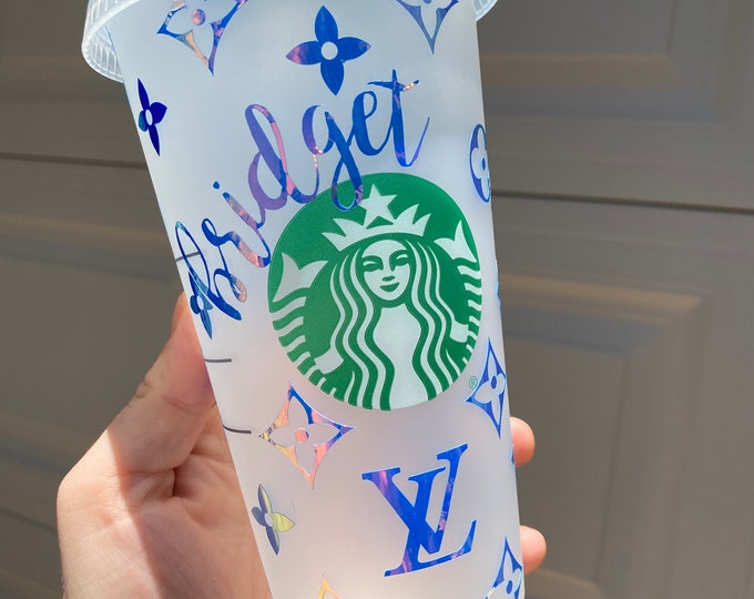 Holographic LV Starbucks Cup  Glitter Louis Vuitton Designer Tumbler  Personalized Name Venti Cold Drink Cup  Reusable Starbucks Cup