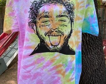 Post Malone Tie Dye  Pastel Skittles Shirt  Trending Clothing  Custom Post Malone Shirt