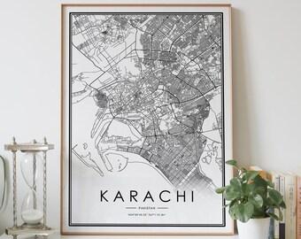 Karachi map art | Etsy