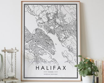Real gold foil print of Canada wall art decor framed poster HALIFAX city map print personalized artwork map gift anniversary couple