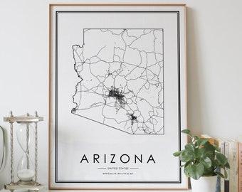 Flagstaff Arizona Map Art Wall Map Coordinates- Wayfinder Creative Map Art Customize with Any Color Map of Flagstaff AZ