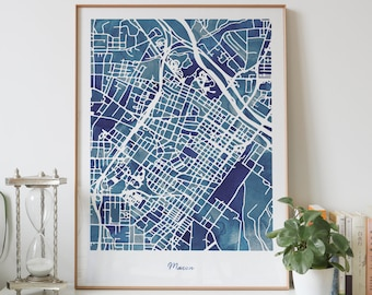 TBILISI city map print watercolor blue painting print of Georgia GA USA map wall art decor framed poster Personalized map gifts