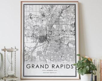Hometown Housewarming Engagement Grand Rapids Map Art Map Print Michigan Travel Custom Personalized Black and White Print