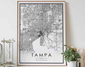 TAMPA city map Digital download black and white print of Florida FL USA poster wall art decor artwork printable personalized gifts Designs