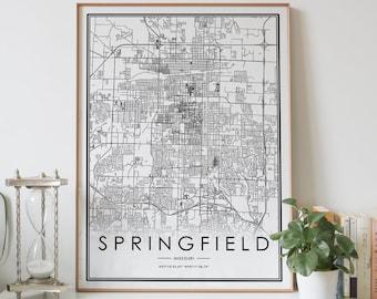 Home Decor art Springfield Springfield MO map Springfield contemporary art Springfield modern art print Springfield Wall Art Map