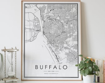 1880 Buffalo New York Vintage Old Panoramic NY City Map 24x36