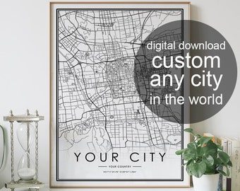 Digital download CUSTOM city map black and white prints wall art home decor artwork poster printable designs images personalized gifts print