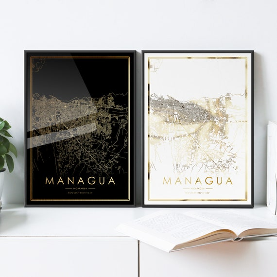 Managua City Map Print Real Gold Foil Print Of Nicaragua Wall Art Decor Framed Poster Personalized Artwork Map Gift Couple Anniversary