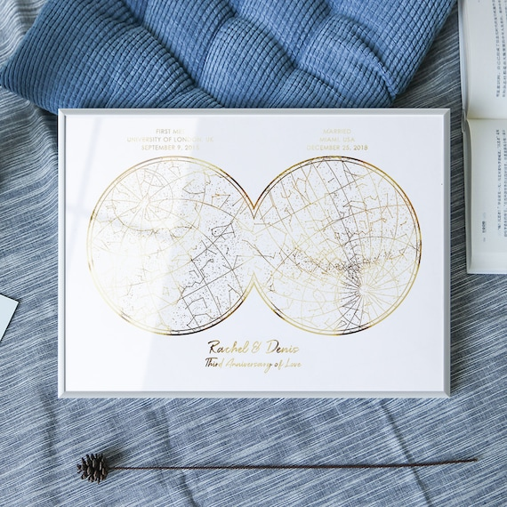 Real gold foil custom 2 location star map Constellation print personalized Anniversary gift for boyfriend girlfriend men her couples husband