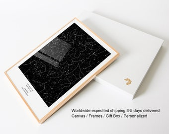 First Anniversary Gift night sky print star map by date constellation personalized 1 year anniversary gift for boyfriend for him for husband