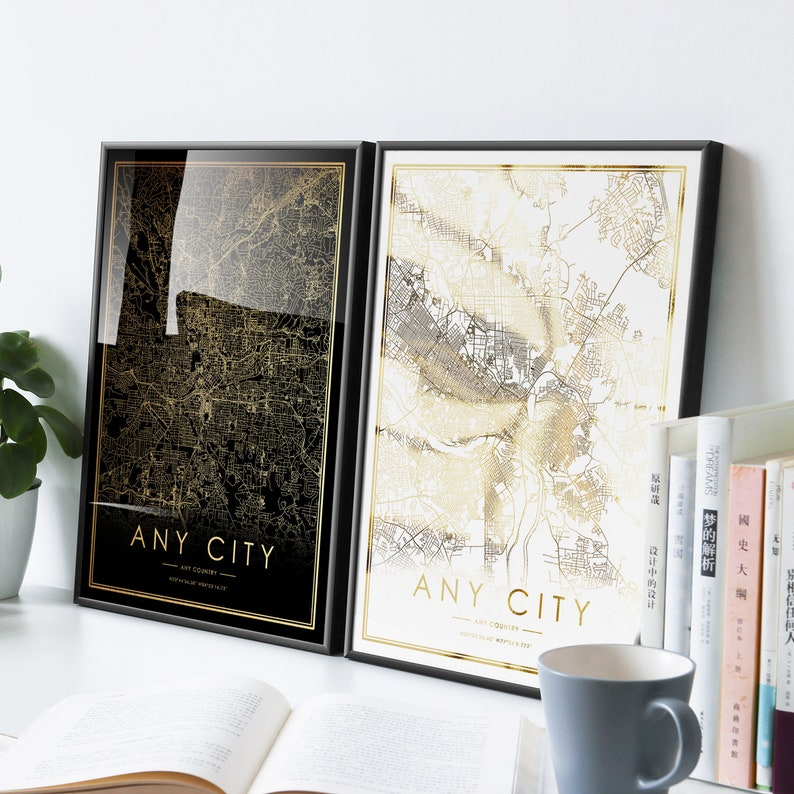ITHACA city map print Real gold foil print of New York NY USA wall art decor framed poster personalized artwork map gifts for anniversary