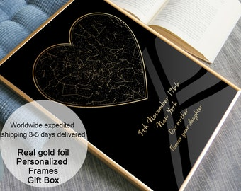 Real gold foil love heart shaped Night Sky Birthday gift for Mom print, Personalize Mom Birthday Gift from Daughter from son from kids ideas