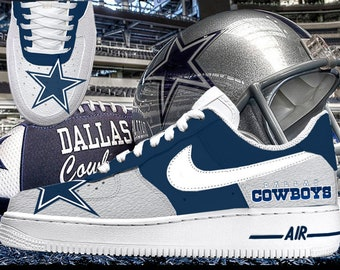 the latest ee20e 75c4a Dallas Cowboys Silver   Navy Blue Custom Nike Air Force 1 Sneakers